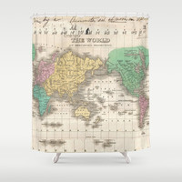 Vintage Map of The World (1827) Shower Curtain by BravuraMedia | Society6