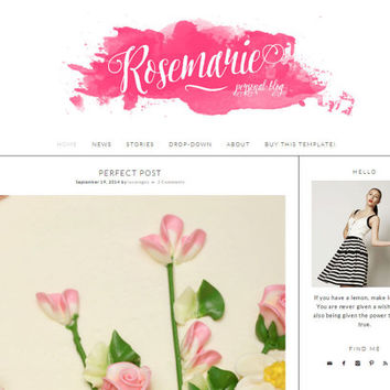 "Simple Blogger Template Blog Design - ""Rosemarie"" 