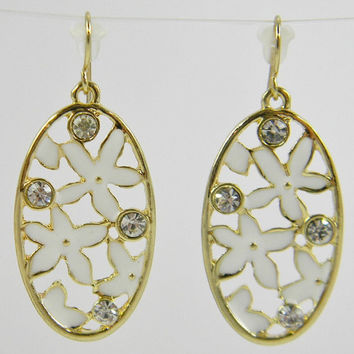 White Star Flower & Swarovski Crystal Filigree Oval Hook -  Dangle Earrings