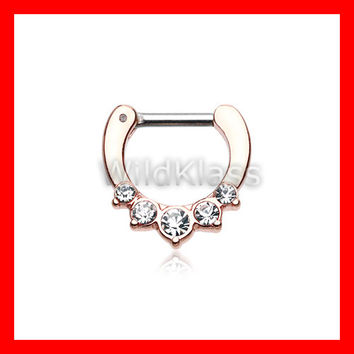 Rose Gold Septum Clicker Ring Horseshoe Multi Gems Precia Ring Cartilage Earrings Nipple Ring Circular Barbell Tragus Jewelry Helix Conch