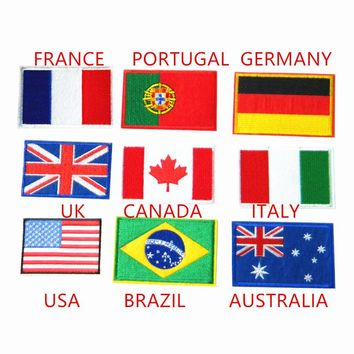 6pcs lot Flag fabric clothes patches iron on banner embroidered patches for jeans  Clothes Applique  world cup Motif Badge