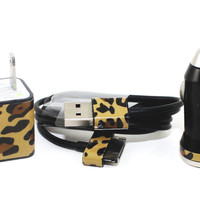Cheetah iPhone Car Charger, Wall Adapter and Cable