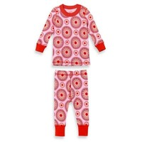 Masala Baby 2-Piece Peppermint Medallion Long Sleeves Pajama Set in Red