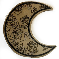 Iron On Leather Moon and Roses Patch