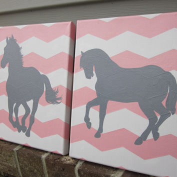 Horses on Pink Chevron for Western Nursery or Room- Handpainted Paintings Set Wall Decor Art for Nursery, Kids Room - You customize!