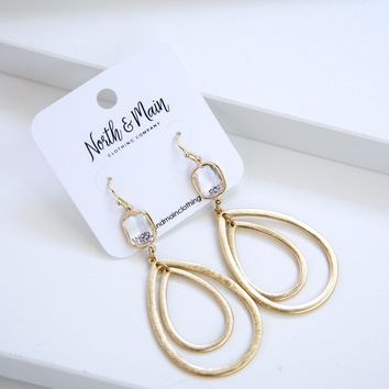Double Drop Earrings, Gold