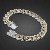 Men bracelet 925 sterling silver jewelry men's link chain bracelet 24K gold-plated  bracelet for men
