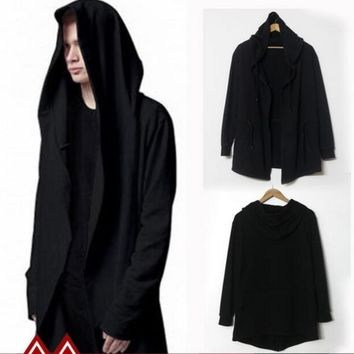 Fashion Avant-garde Big Hood Double Coat Mens Hoodies Sweatshirts Black Cloak Assassins Creed Outwear Oversize Chandal Hombre