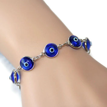 10mm crystal evil eye bracelet/anklet, Turkish blu eye jewelry, good looking bracelet, perfect gift for her, wedding bridesmaid gift