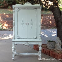 Antique Cabinet Armoire Painted French White Storage Furniture Distressed Shabby Chic Converted Radio Cabinet Nationwide Shipping