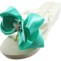Bridal Wedding Flip Flops with Tropic Teal Starfish Bows-Ivory or White- Choose Heel Height