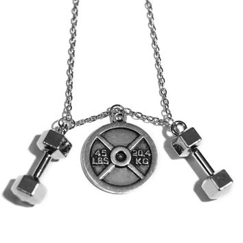 45lb Plate + Two Dumbbells Charm Necklace - Weightlifting Exercise Crossfit Jewelry Fitness Charm Kettlebell Lifting Pendant Handmade Gift
