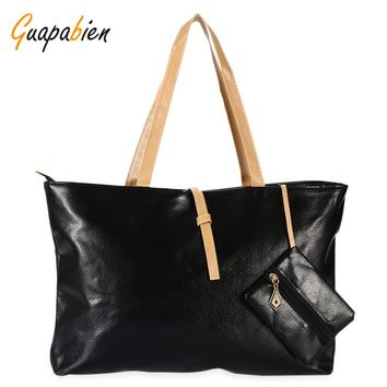 Guapabien Women Leather Handbag With Coin Purse Causal Ladies Tote Shoulder Clutch Bag Candy Color Sac Bolso Messenger Bags