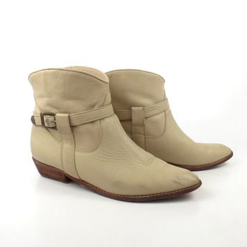 Leather Ankle Boots Vintage 1980s Tan Cream Cowboy Western Brown Women's size 10 B