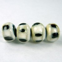 Lampwork Beads Handmade Glass Black Ivory Clear Dots Band SRA