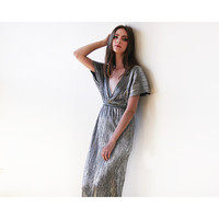 Maxi bat sleeves pleated dress, Silver maxi gown, Glamorous party dress