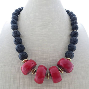 Red coral necklace, black chunky necklace, lava rock necklace, big bold necklace, beaded necklace, contemporary jewelry, italian jewelry