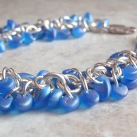 Blue Beaded Bracelet Chain Maille Shaggy Loops Artisan Hand Made