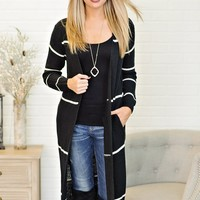 * Amely Long Duster Striped Sweater Cardigan : Black