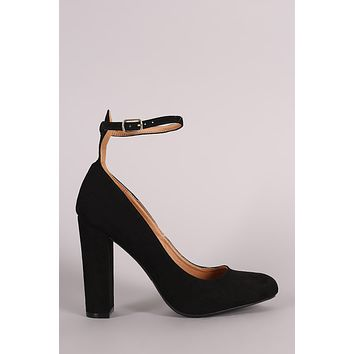 Wild Diva Lounge Suede Almond Toe Ankle Strap Pump