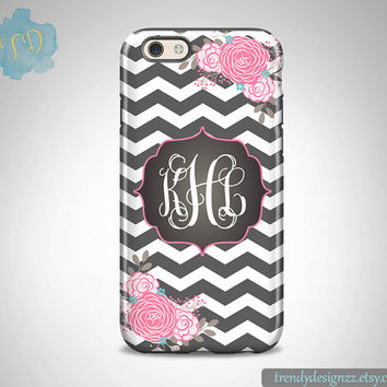 Monogram iPhone case, Personalized iPhone case iPhone 6s 6 plus Samsung S6 Edge S5 S4 Faux Chalkboard Monogram Gray Chevron Pink Floral (25)
