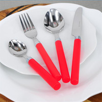 HA209-5 Free Shipping High Quality Stainless Steel Dinnerware Cutlery Set  Red Fashion Half Tang Flatware Set