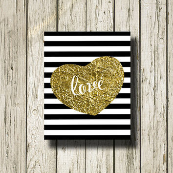 Love Gold Black White Stripe Print Printable Instant Download Poster Wall Art Home Decor ST147