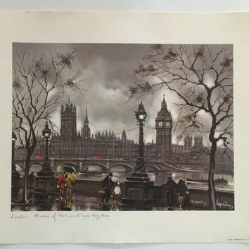 Vintage Print of London, Maurice Legendre Print, Vintage Art, Krisarts Print, Big Ben Print, Vintage Home Decor