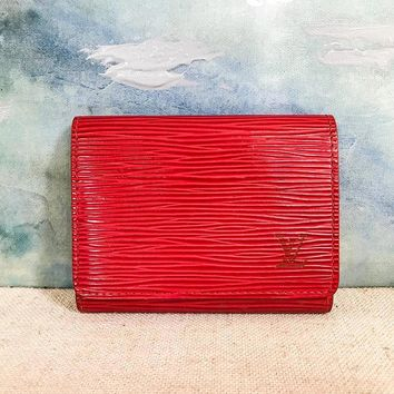 $535 LOUIS VUITTON Red Epi Leather LV Logo Flap Card Holder Wallet Small on SALE