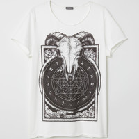 T-shirt with Printed Design - White/skull - Men | H&M US
