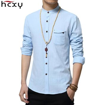 2017 Chinese style Fashion Long Sleeve Men Shirts Casual Shirts Male Casual Linen Shirt Men Plus Size 4XL 5XL blue Camisas