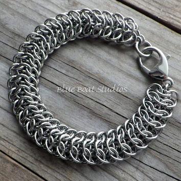 Interwoven 4-in-1 stainless steel chain maille bracelet