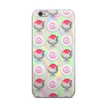 Ice Cream Emoji Collage Teen Cute Girly Girls Tie Dye Pink Green & Sky Blue iPhone 4 4s 5 5s 5C 6 6s 6 plus 6s Plus 7 & 7 Plus Case