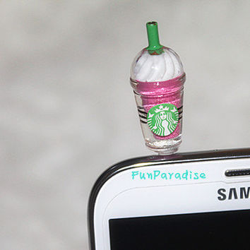 Frappuccino Dust Plug 3.5mm pink Color, Cell Phone Plug iPhone 4 4S 5 5S 5c Plug Samsung Charm Headphone Jack Ear Cap