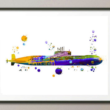 Yellow submarine watercolor print nursery illustration, gift for boys, wall art, submarine print nautical art horizontal print [183]