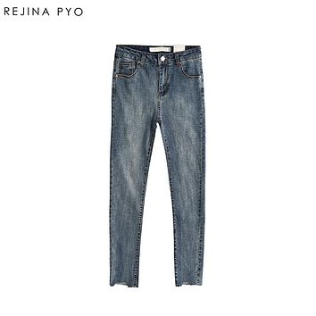 REJINAPYO Women Washing Bleached Skinny Pencil Denim Jeans Stretching High Waist with Pockets Female Ankle-Length Casual Jeans