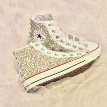 Rhinestone Converse Bride Custom Bedazzled Converse Shoes Quince?era