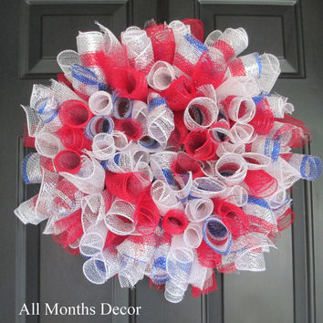 Red White Blue Spiral Deco Mesh Wreath, Patriotic American, 4th of July Independence, Party, Holiday, Flag Themes, June
