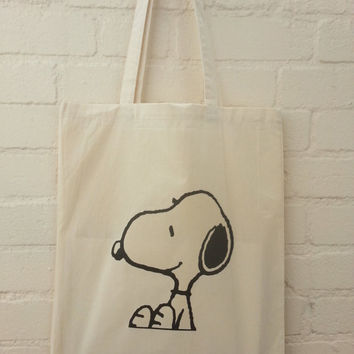Sitting Snoopy Natural Cotton Tote Bag