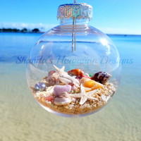 Hawaii Christmas Ornament, Shell Christmas Tree Bulb