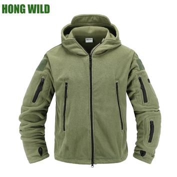 HONG WILD Tactical fleece jacket Military Uniform Soft Shell Casual  Hooded Jacket Men Thermal army Clothing