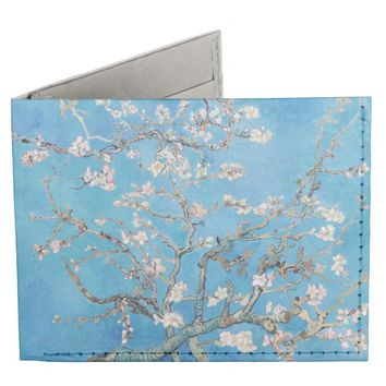 Almond Blossoms Blue Vincent van Gogh Art Painting Billfold Wallet