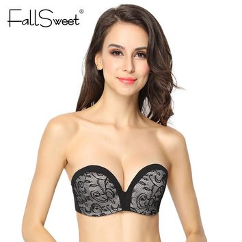 FallSweet Strapless Lace Bra for Women Anti-slip Push Up Bralette  A B Cup Demi  Hand Shape Lift Bras