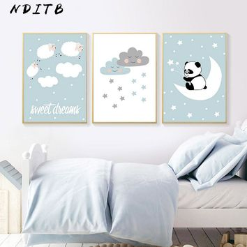 Baby Nursery Wall Art Poster Canvas Print Cute Cartoon Panda Painting Nordic Kids Decoration Pictures Boys Bedroom Decoration