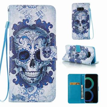Sugar Skull  Leather Wallet Flip