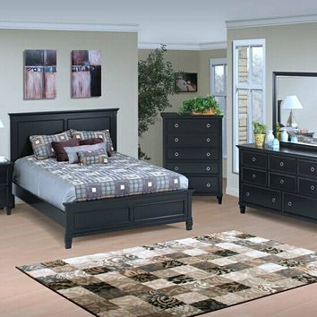 New Classic 045-315 5 pc tamarack collection black finish wood headboard queen bedroom set