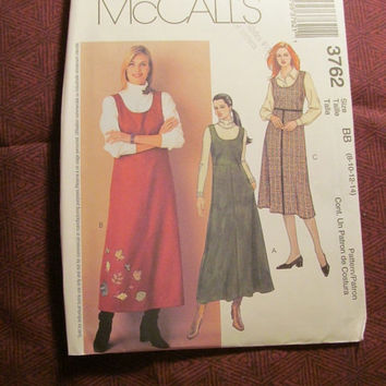 SALE Uncut McCall's Sewing Pattern, 3762! 8-10-12-14 Small/Medium/Large/Women's/Misses/Sleeveless Dress/Long Jumper Dress/Petite/Lined Bodic