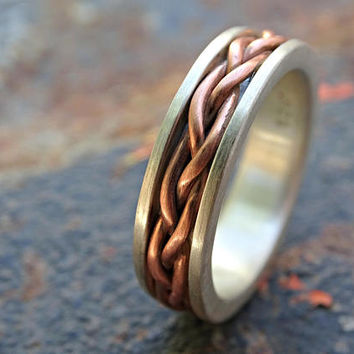 braided wedding band, eternity ring celtic womens ring medieval wedding, celtic braided band, silver woven ring, infinity knot ring braided