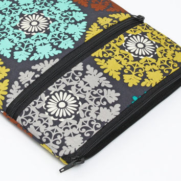 iPad Air sleeve, Google Nexus 10 case, women netbook pouch with front pocket, padded with foam - pink turquoise lime brown medallions