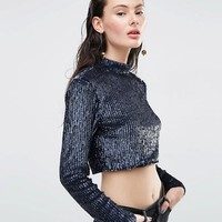 ASOS Top With High Neck And Long Sleeves In All Over Sequin at asos.com